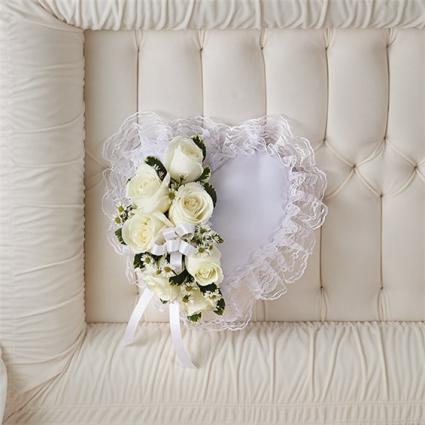Satin Heart Casket Pillow