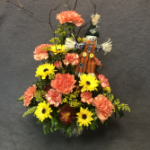 Scarecrow and Flowers Fresh Floral Arrangement