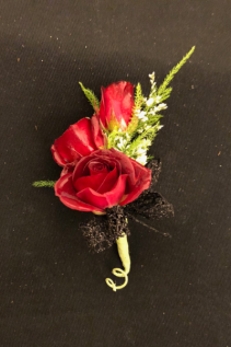 Scarlet Romance Triple Stack Red Spray Rose Boutonniere