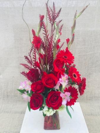 Scarlet Sentiments Fresh Vase Arrangement