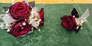 Scarlet & Silver Prom Corsage and Boutonniere Set in Las Vegas, NV | All In Bloom