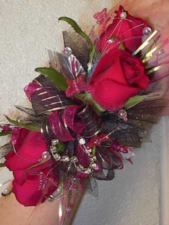school colors wrist corsage