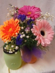 3 LARGE GERBERA DAISIES IN A MASON JAR!!