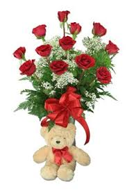 """HUGS AND KISSES"" Dozen Red Roses arranged in a    vase with baby's breath and a bear!!"