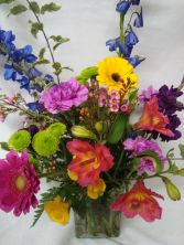 Just Because! A beautiful bright mixed arrangment Florist choice. Nice Garden look in a vase..