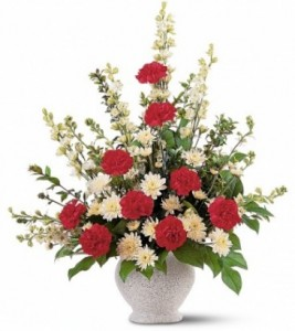 TRIBUTE ARRANGEMENT OF  RED AND WHITES