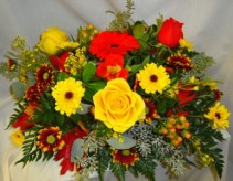 Centerpiece for fall! Seasonal flowers and colors.