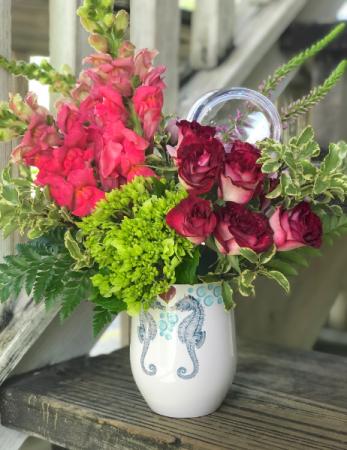 Sea of Love Flowers & Tumble Sweet Flower Arrangement in Wine Tumbler