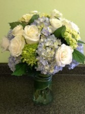 Sea Breeze Roses and Hydrangea Mix Vase Arrangement