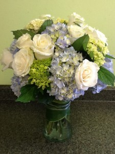Sea Breeze Roses and Hydrangea Mix Vase Arrangement