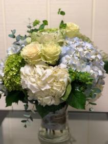 Seabreeze Roses and Hydrangea Vase Arrangement