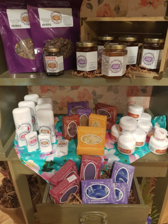 Seafoam Lavender Products Teas, Honey, Hand Cream and Soaps,