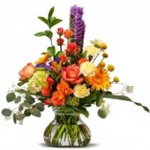 Seasonal Garden Mix Designers Choice in Rosie Posie Vase