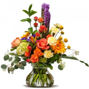 Seasonal Garden Mix Designers Choice in Rosie Posie Vase in New Orleans, LA | Carrollton Flower Market