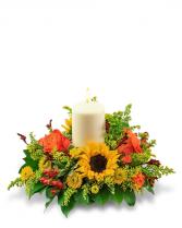 Seasonal Saffron Centerpiece Flower Arrangement