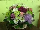 Seasonal Spring Flower Basket Basket Arrangement