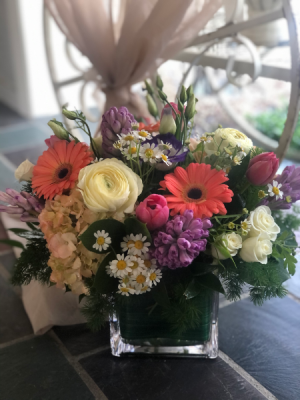 Seasonal Spring Love Low and Dense Arrangement  in Bethany, CT | The Floating Dahlia