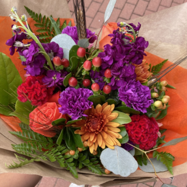 Seasonal Wrapped Bouquet (Flowers will vary)