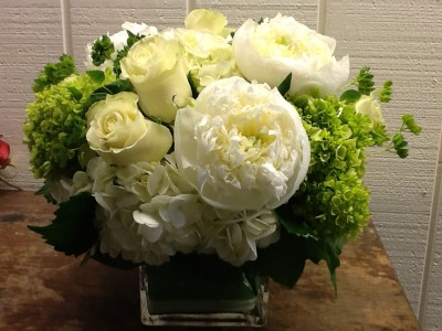 Seasonally Fresh Hydrangea And Rose Arrangement Dense Square Cube In