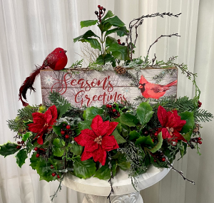 Season's Greeting Silk Arrangement 2 Gifts in One in Springfield, IL | FLOWERS BY MARY LOU