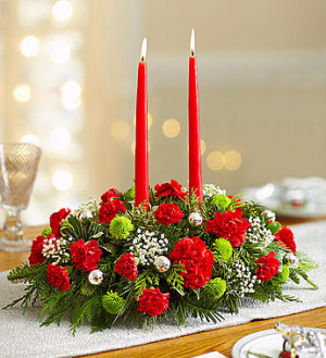 Season's Greetings Centerpiece in Lexington, NC | RAE'S NORTH POINT FLORIST INC.