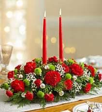 Seasons Greetings Centerpiece Mixed Flowers Holiday Colors