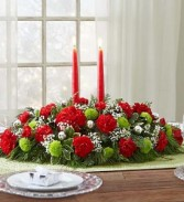 Season's Greetings Centerpiece Red and Green Traditional Gift