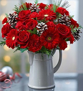 Season's Greetings™ in a Pitcher  in Oakdale, NY | POSH FLORAL DESIGNS INC.
