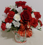 Seasons Greetings  Keepsake Bucket Arrangement