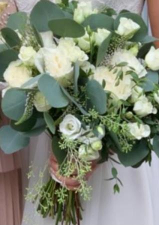 Seeded euc, spray rose, garden roses  Wedding