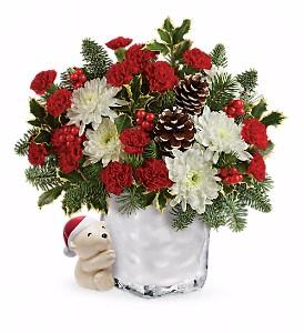 """Send a Hug"" Bear Buddy Holiday Bouquet in Whitesboro, NY | KOWALSKI FLOWERS INC."
