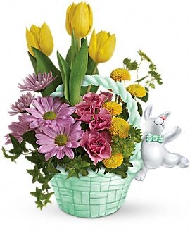 Exclusively at Flowers Today Florist Bunny Hop into Spring, Ceramic Keepsake Container in New Port Richey, FL | FLOWERS TODAY FLORIST