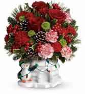 Send a Hug Christmas Cutie Precious Penguin with Roses