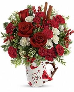 Send a Hug  Christmas Mug Flowers in Riverside, CA | Willow Branch Florist of Riverside