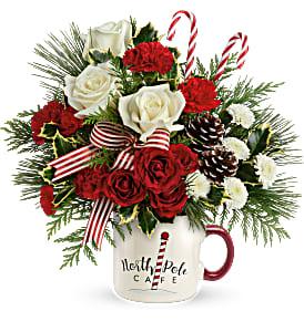 SEND A HUG NORTH POLE CAFE MUG CHRISTMAS