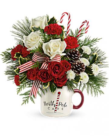 Send a Hug North Pole Cafe Mug Floral Arrangement