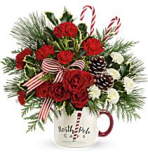 Send a Hug North Pole Cafe Mug Fresh Arrangement