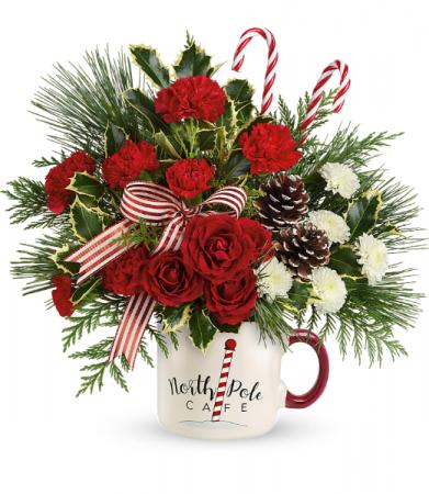 Send a Hug North Pole Cafe Mug Holiday Arrangement