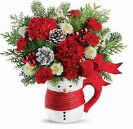 Send a hug Snowman arrangement table top in Claremont, NH | FLORAL DESIGNS BY LINDA PERRON