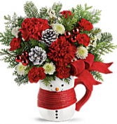 Send a Hug Snowman Mug arrangement