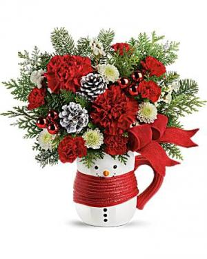 Send a Hug Snowman Mug Bouquet Christmas in Punta Gorda, FL | CHARLOTTE COUNTY FLOWERS