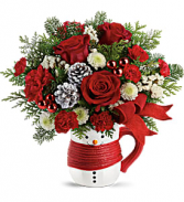 Send a Hug Snowman Mug Bouquet Christmas Arrangement