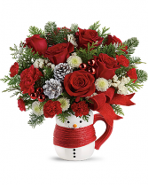 Send a Hug Snowman Mug Bouquet holiday