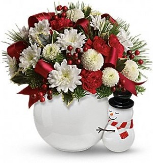Send a merry Hug Ceramic Snowman  in Oakdale, NY | POSH FLORAL DESIGNS INC.