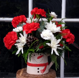 Send a Snowy Smile Mug Arrangement in North Adams, MA | MOUNT WILLIAMS GREENHOUSES INC