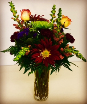 Sending Joy Fall Colors mixed with Roses in Plainview, TX | Kan Del's Floral, Candles & Gifts