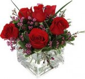Sending you all my love 6 red roses in a cube