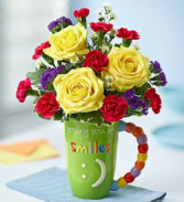EXCLUSIVELY AT FLOWERS TODAY FLORIST Sending you Big Smiles Ceramic Mug