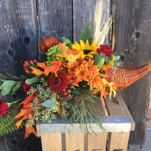 Sensational Fall Cornucopia  Arrangement in Spruce Grove, AB | TARAH'S GROWER DIRECT