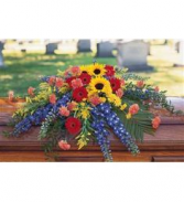 Sentimental Sunflowers Sympathy casket spray